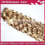 Curly highlight blonde clip in hair extensions 150g remy clip in hair extension