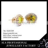 2015 Fancy dubai design nice yellow zircon 925 silver yellow gold plated stud earrings from sls jewelry