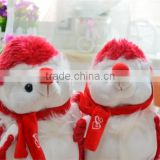 20cm Height Plush Couple Hedgehogs Toy/Soft Toy Hedgehog with Bright Red Fur/Stuffed Toy Animated Hedgehog with Scarlet Scarf