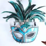 Beautiful Design Feather Mask Cock Feather Mask And Rooster Feather With Diamond For Carnival Mask