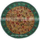 New Christmas Round Handmade Embroidered Wall Hanging-Tapestry With Indian Traditional Motif Figure
