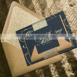 gold foil stamping navy blue card with gold writting for wedding invitations card                                                                         Quality Choice
