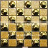 WT03 Golden electroplated ceramic and glass mosaic tiles borders ceramic kitchen,bathroom ,ec.