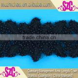 fancy black embroidery organza beaded lace trims for dresses