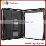 2015 hot new A4 portfolio/folder zip pu leather portfolio with calculator and notepad pu portfolio bag                                                                         Quality Choice