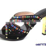 CSB7172 new fashion italian design high quality hot selling lady sandals with multi color stone for women
