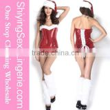 Wholesale hot sweet 3pcs Sexy Sequins Pin up Christmas Girl Romper christmas elf costume