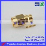 SMA Reverse Polarity male body with female pin solder for semi rigid RG402 cable