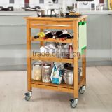 2015 new design 100% Bamboo 3 tiers Kitchen Trolley with wheel Kitchen Storage Cart with wine rack wholesale                                                                         Quality Choice