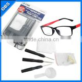 glasses clean kit eyeglasses repair care kit with Cloth Screwdriver mini magnifying glass.