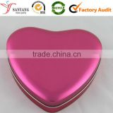 Pink lovely metal tin box for girl sweet heart gift packaging storage box for candy chocolate