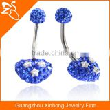 Beautiful Heart Shape Belly Button Rings, Blue and White Gems Navel Piercing Jewelry, Fashion Stainless Steel Navel Rings