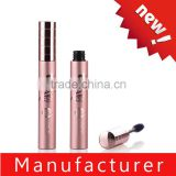 HS manufacturer shiny pink aluminium cosmetic mascara case with brush