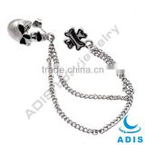 316L stainless steel ear chain linked tragues barbell with skull studs