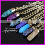 KJL-BD5266 Pendulum dangle Pendant Natural Hexagonal Quartz Dragon Agate Druzy Gems Stone Beads Pendant Point Necklace Jewelry