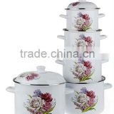First-Class Yiwu Cookware Wholesale Flower Decal White Enamel Pot 5 Pcs Set Kitchenware Pot For Cooking