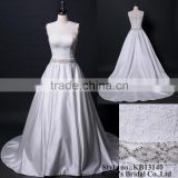 New designer wedding dress Luxury short sleeve button back beading and crystal latest dress designs pictures