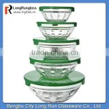 LongRun 2015 selling fast 5pcs salad fruit glass bowl set with plastic cover manufacture