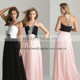 Free shipping one shoulder beaded long girls chiffon black and white evening dresses CWFae5263