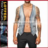 Vest For Men Korean Style Fashion Denim Waistcoat (LOTJ248)