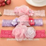 Children 's three - color lace flower hair band lace baby headband baby hair ornaments wholesale