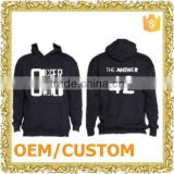 Custom design black plain unisex pull over hooded jacket jersery sweater men sweatshirt without hood
