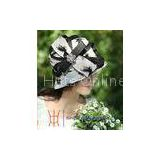 White / Black Decoration Party Fashionable Dressy Church Hats With Rose