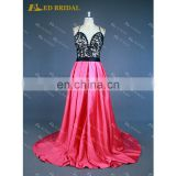 LN144 Real Sample Sexy Backless Criss Cross Spaghetti Straps Black Lace Top Fuchsia Prom Dress Patterns