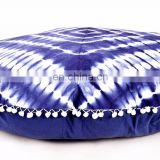 Indian Handmade Hand Tie Dye Shibori Print Round Pillow Cover Cushion Cover Pillow Case Round Meditation Ottoman Pouf 32""