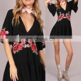 Mika72113 Summer Black Sexy Ethnic Floral Patch Frill Beach Ladies Romper Jumpsuit 100% Polyester