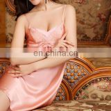 latest nighty designs v neck lace silk pajamas sexy nightwear