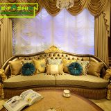 Wholesale luxury furnitures house living room couch leather wood carving sofa