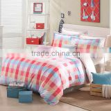 China manufacturer plaid pattern colorful print your own duvet cover vintage pillowcase single bed comforter set