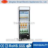 216L Upright glass door commercial electric display showcase for beverage with factory price