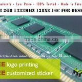 LOW PRICE DDR3 2GB 1333MHz 128x8 ram memory for Desktop computer w/Free logo print