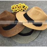 Promotion cheap plain wholesale straw cowboy hats ladies straw hats Beach shading Unisex cowboy straw hat