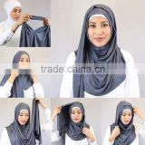 Slip On Amira Style Cotton/Modal Plain Solid Jersey Scarf Instant Hijab                                                                         Quality Choice