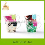 10oz inside and outside flower design hand painted fine bone china ceramic coffee mugs/cups export to Japan