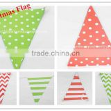 Eco-Friendly Colorful Paper Flags Hanging Pennant Banner for Christmas Decoration