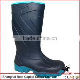 BLUE PVC work boot, safety gum boot, Waterproof farm safety cheap shoe