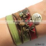 Fashion ribbon bracelet with gold plated dragonfly and tree china supplier                                                                         Quality Choice