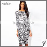 2015 New Design Printed Bodycon Gown Dresses Evening Dress                                                                         Quality Choice