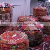 Hand Embroidered Tribal Patchwork Ottoman Cover