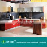 Linkok Furniture High Quality Modern High Gloss UV Lacquer Kitchen Cabinet with Quartz surface stone