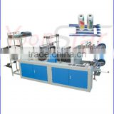 HDPE LDPE Flat Open , T-shirt shape even roll non woven shopping plastic bag making machine with lower price