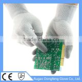 PU ESD Security Glove / 13 Gauge Antistatic Gloves PVC Dotted Palm& Back Both Sides For Wholesale