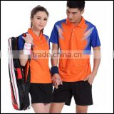 2015 new badminton sport wear of women and man and in many stock or customized badminton wear.