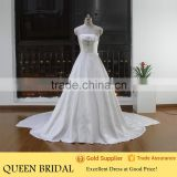 Real Sample Strapless Crystal Beaded Satin Fabric Korean Style Wedding Dress