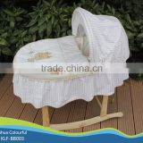 hand made cradle baby moses basket / moses basket set /maize basket/ bassinet,/ corn basket /with rocking stand BB003