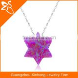 925 silver necklace wholesale with new style hexagram opal pendant necklace